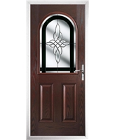 The Edinburgh Composite Door in Rosewood with Black Crystal Harmony