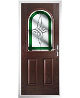 The Edinburgh Composite Door in Rosewood with Green Crystal Harmony