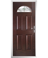 The Derby Composite Door in Rosewood with Green Fusion Ellipse