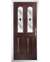 The Aberdeen Composite Door in Rosewood with Black Fusion Ellipse