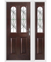 The Aberdeen Composite Door in Rosewood with Green Fusion Ellipse with matching Side Panel
