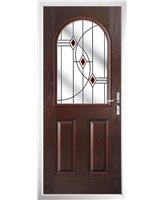 The Edinburgh Composite Door in Rosewood with Red Fusion Ellipse