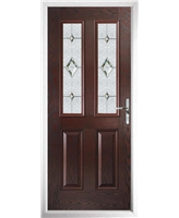 The Cardiff Composite Door in Rosewood with Crystal Diamond