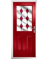 The Farnborough Composite Door in Red with Red Diamonds