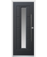 Ultimate Vermont Rockdoor in Anthracite Grey with Clear Glazing and Bar Handle