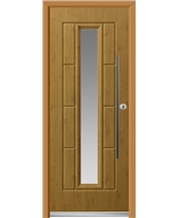 Ultimate Vermont Rockdoor in Irish Oak with Clear Glazing and Bar Handle