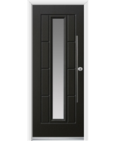 Ultimate Vermont Rockdoor in Onyx Black with Glazing and Bar Handle