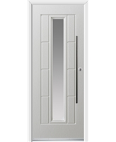 Ultimate Vermont Rockdoor in White with Clear Glazing and Bar Handle