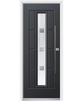 Ultimate Vermont Rockdoor in Anthracite Grey with Grey Shades and Bar Handle