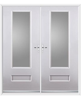 Vogue French Rockdoor in White with Clear Glazing
