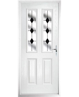 The Aberdeen Composite Door in White with Black Diamonds