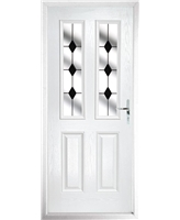 The Cardiff Composite Door in White with Black Diamonds