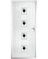 The Uttoxeter Composite Door in White with Black Diamonds