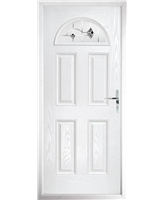 The Derby Composite Door in White with Black Murano
