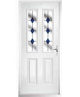 The Aberdeen Composite Door in White with Blue Diamonds