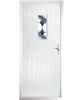 The Taunton Composite Door in White with Blue Diamonds