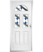 The Glasgow Composite Door in White with Blue Diamonds