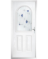 The Edinburgh Composite Door in White with Blue Murano