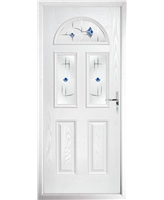 The Glasgow Composite Door in White with Blue Murano
