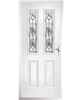 The Cardiff Composite Door in White with Brass Art Clarity