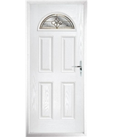 The Derby Composite Door in White with Brass Art Clarity