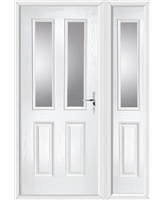 The Cardiff Composite Door in White with Clear Glazing and matching Side Panel
