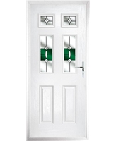 The Oxford Composite Door in White with Green Crystal Bohemia