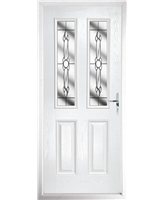 The Cardiff Composite Door in White with Crystal Bohemia