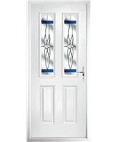 The Aberdeen Composite Door in White with Blue Crystal Harmony