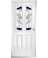 The Birmingham Composite Door in White with Blue Crystal Harmony