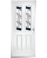 The Cardiff Composite Door in White with Blue Crystal Harmony