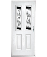 The Cardiff Composite Door in White with Black Crystal Harmony