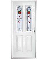 The Aberdeen Composite Door in White with English Rose