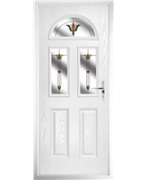 The Glasgow Composite Door in White with Fleur