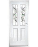 The Cardiff Composite Door in White with Green Fusion Ellipse