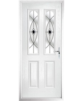 The Aberdeen Composite Door in White with Black Fusion Ellipse
