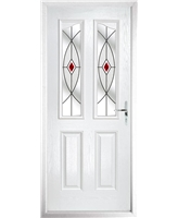 The Birmingham Composite Door in White with Red Fusion Ellipse
