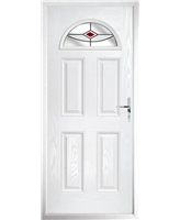 The Derby Composite Door in White with Red Fusion Ellipse