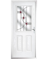 The Farnborough Composite Door in White with Red Fusion Ellipse