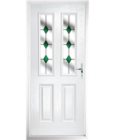 The Cardiff Composite Door in White with Green Diamonds