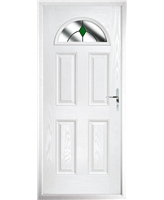 The Derby Composite Door in White with Green Diamonds