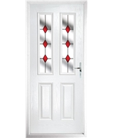 The Cardiff Composite Door in White with Red Diamonds