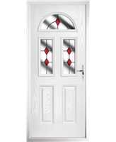 The Glasgow Composite Door in White with Red Diamonds