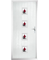 The Uttoxeter Composite Door in White with Red Diamonds