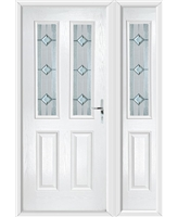 The Cardiff Composite Door in White with Simplicity and matching Side Panel