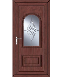 Epsom Bevel Cluster uPVC High Security Door In Rosewood
