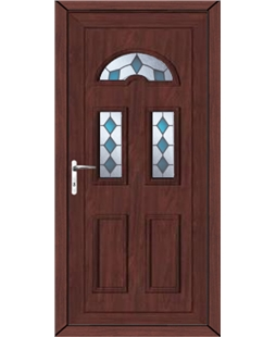 Brighton Blue Jewel uPVC High Security Door In Rosewood