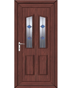 Doncaster Blue Stud uPVC Door In Rosewood
