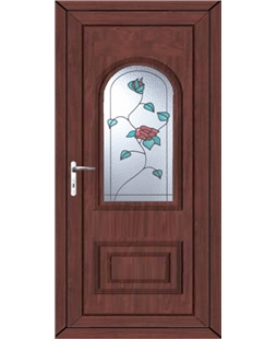 Epsom Wild Rose uPVC High Security Door In Rosewood