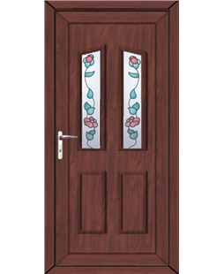 Doncaster Climbing Rose uPVC High Security Door In Rosewood